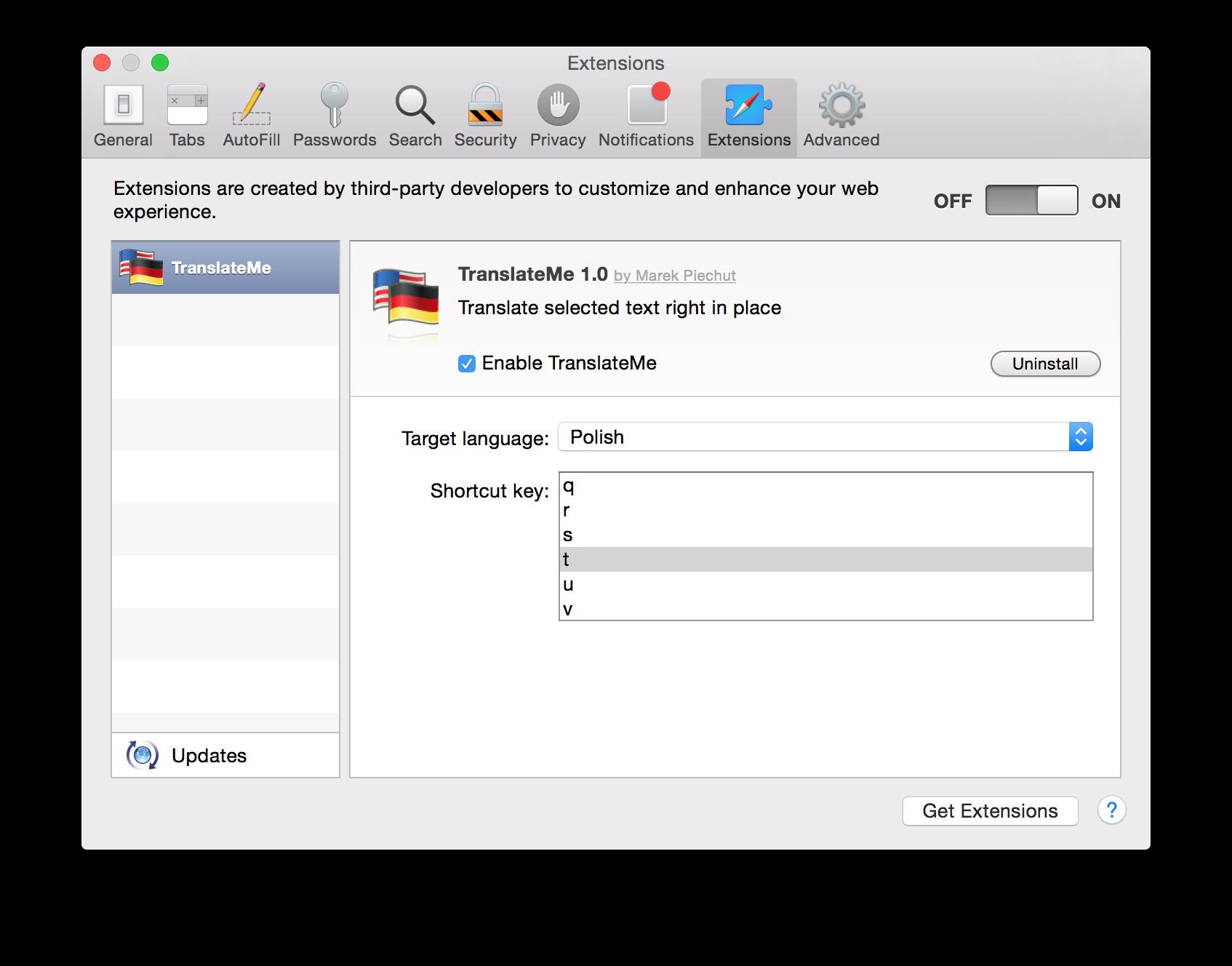 Translate Me! Safari extension